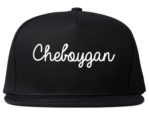 Cheboygan Michigan MI Script Mens Snapback Hat Black