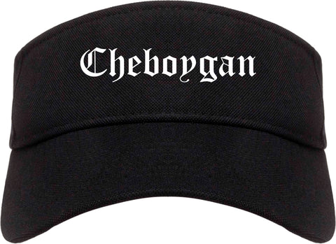 Cheboygan Michigan MI Old English Mens Visor Cap Hat Black