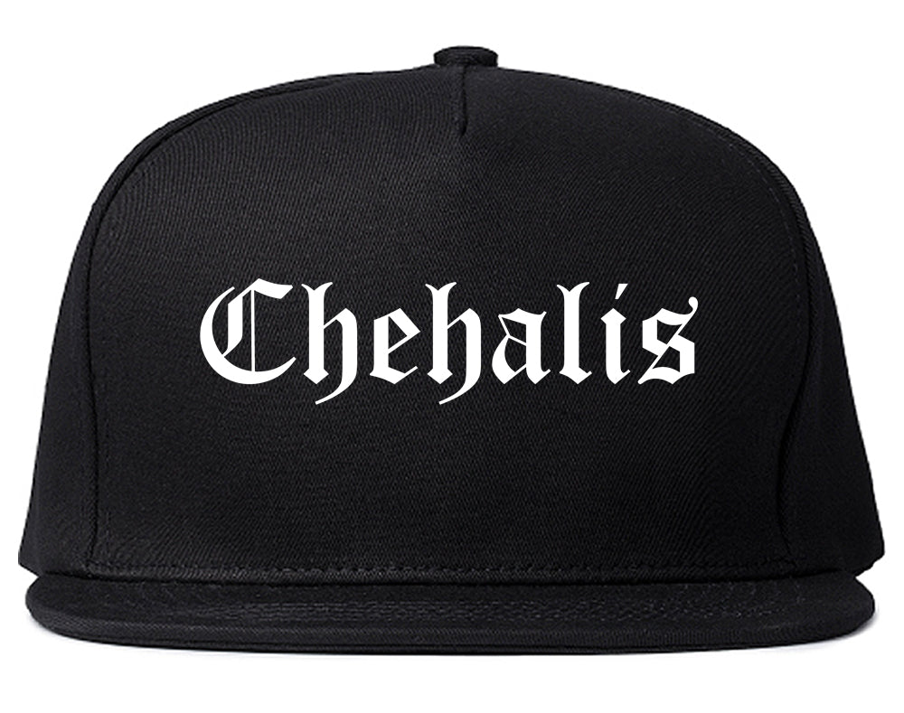 Chehalis Washington WA Old English Mens Snapback Hat Black
