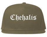 Chehalis Washington WA Old English Mens Snapback Hat Grey