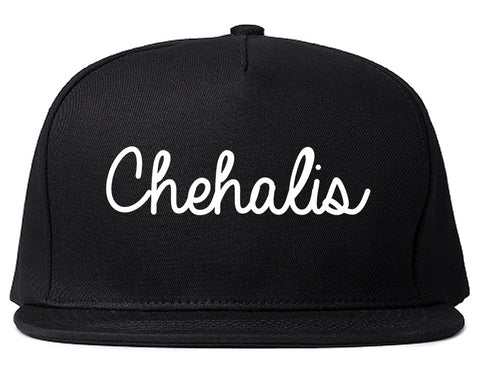 Chehalis Washington WA Script Mens Snapback Hat Black