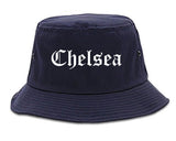 Chelsea Massachusetts MA Old English Mens Bucket Hat Navy Blue