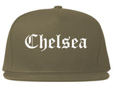 Chelsea Michigan MI Old English Mens Snapback Hat Grey