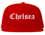 Chelsea Michigan MI Old English Mens Snapback Hat Red