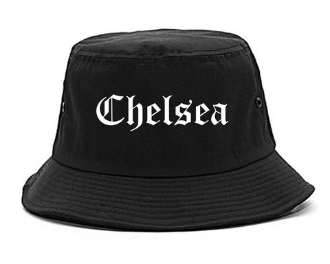 Chelsea Michigan MI Old English Mens Bucket Hat Black