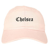 Chelsea Michigan MI Old English Mens Dad Hat Baseball Cap Pink