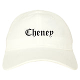 Cheney Washington WA Old English Mens Dad Hat Baseball Cap White