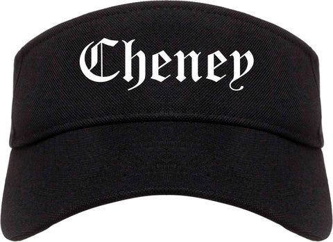 Cheney Washington WA Old English Mens Visor Cap Hat Black