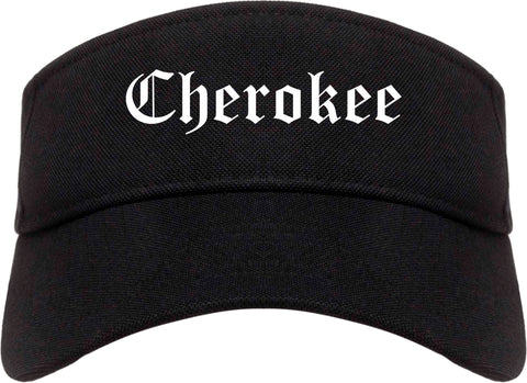 Cherokee Iowa IA Old English Mens Visor Cap Hat Black