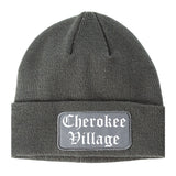 Cherokee Village Arkansas AR Old English Mens Knit Beanie Hat Cap Grey