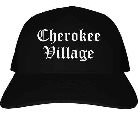 Cherokee Village Arkansas AR Old English Mens Trucker Hat Cap Black