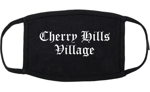 Cherry Hills Village Colorado CO Old English Cotton Face Mask Black