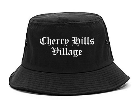 Cherry Hills Village Colorado CO Old English Mens Bucket Hat Black