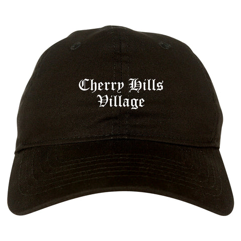 Cherry Hills Village Colorado CO Old English Mens Dad Hat Baseball Cap Black
