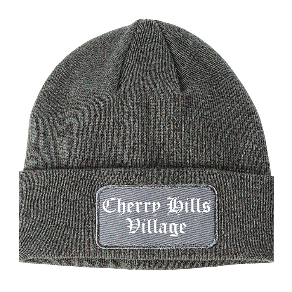 Cherry Hills Village Colorado CO Old English Mens Knit Beanie Hat Cap Grey