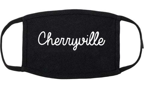 Cherryville North Carolina NC Script Cotton Face Mask Black