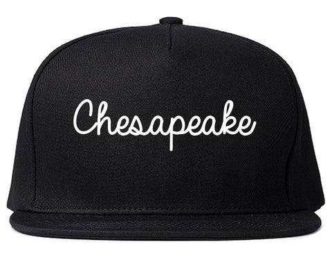 Chesapeake Virginia VA Script Mens Snapback Hat Black