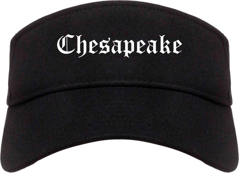 Chesapeake Virginia VA Old English Mens Visor Cap Hat Black