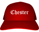 Chester Illinois IL Old English Mens Trucker Hat Cap Red