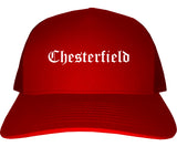 Chesterfield Missouri MO Old English Mens Trucker Hat Cap Red
