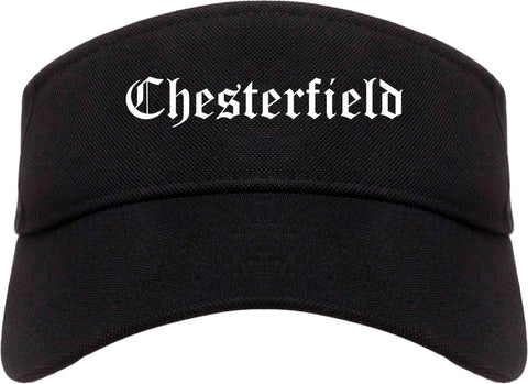 Chesterfield Missouri MO Old English Mens Visor Cap Hat Black