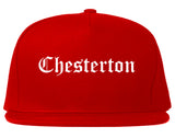 Chesterton Indiana IN Old English Mens Snapback Hat Red