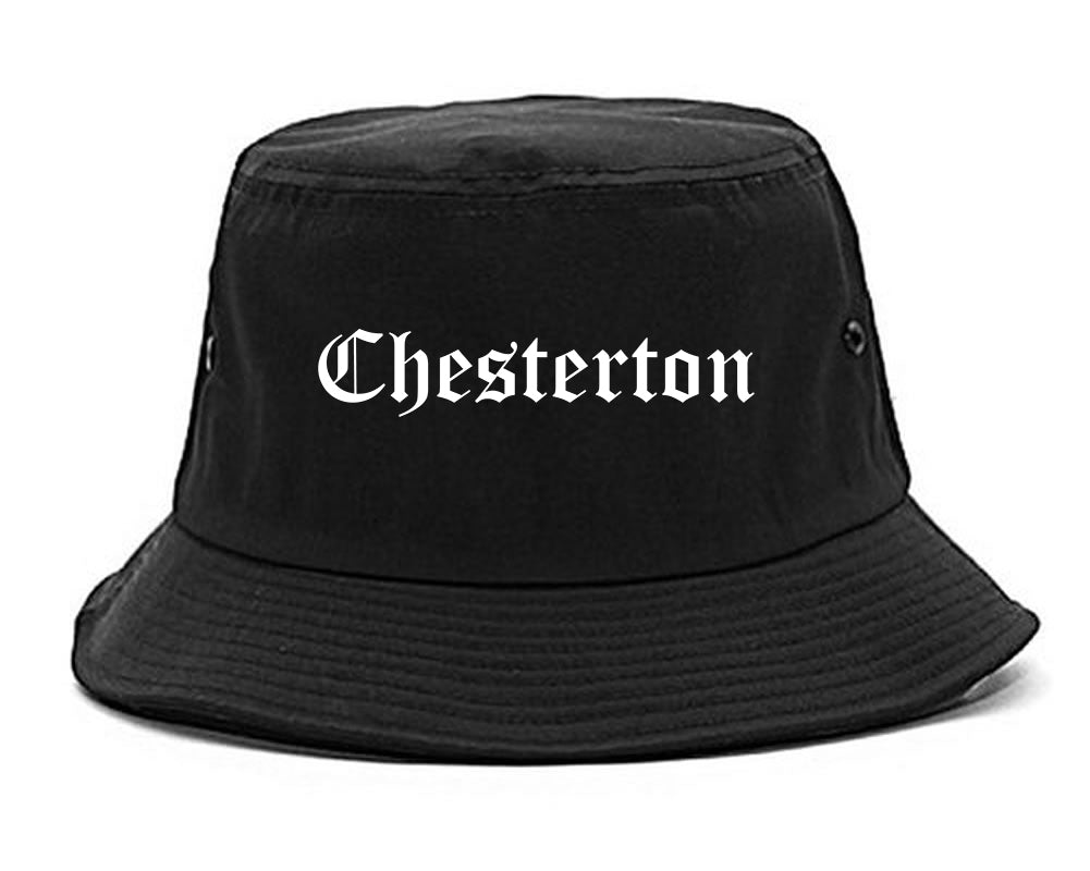 Chesterton Indiana IN Old English Mens Bucket Hat Black