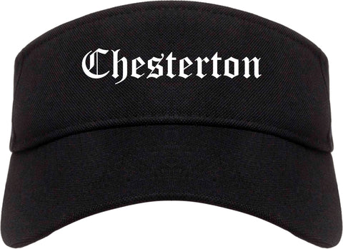 Chesterton Indiana IN Old English Mens Visor Cap Hat Black