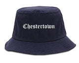 Chestertown Maryland MD Old English Mens Bucket Hat Navy Blue