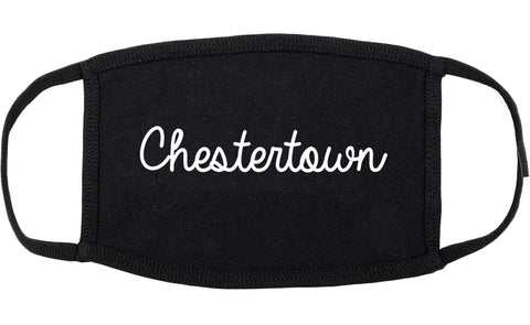 Chestertown Maryland MD Script Cotton Face Mask Black