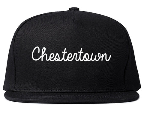 Chestertown Maryland MD Script Mens Snapback Hat Black