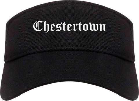 Chestertown Maryland MD Old English Mens Visor Cap Hat Black