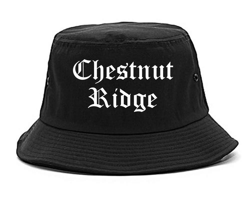 Chestnut Ridge New York NY Old English Mens Bucket Hat Black