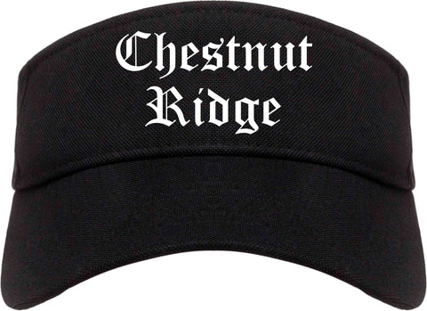 Chestnut Ridge New York NY Old English Mens Visor Cap Hat Black