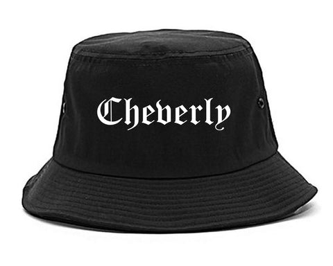 Cheverly Maryland MD Old English Mens Bucket Hat Black