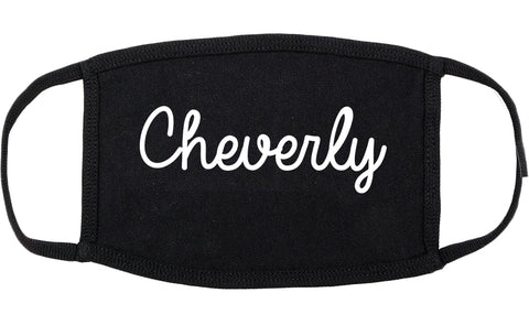 Cheverly Maryland MD Script Cotton Face Mask Black