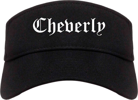 Cheverly Maryland MD Old English Mens Visor Cap Hat Black
