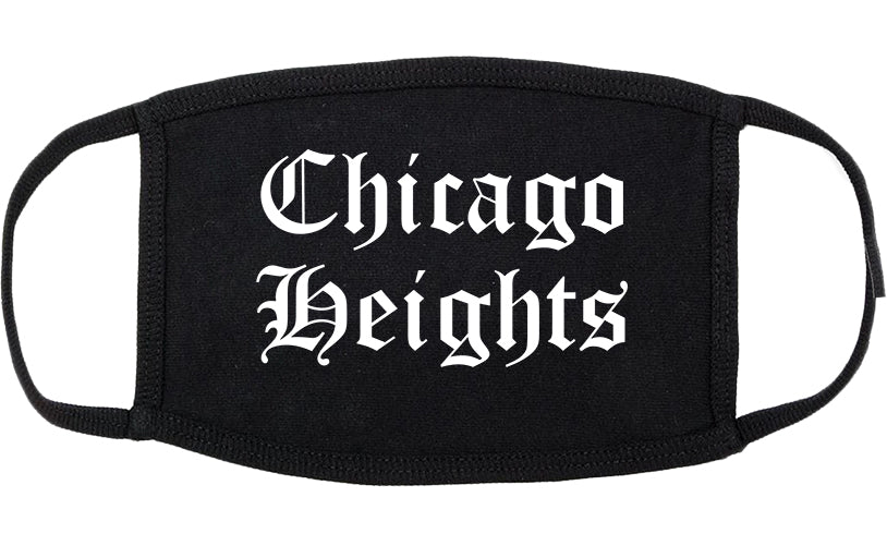 Chicago Heights Illinois IL Old English Cotton Face Mask Black