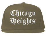 Chicago Heights Illinois IL Old English Mens Snapback Hat Grey