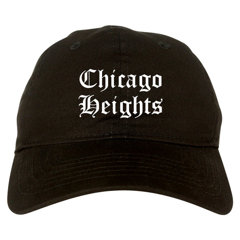 Chicago Heights Illinois IL Old English Mens Dad Hat Baseball Cap Black