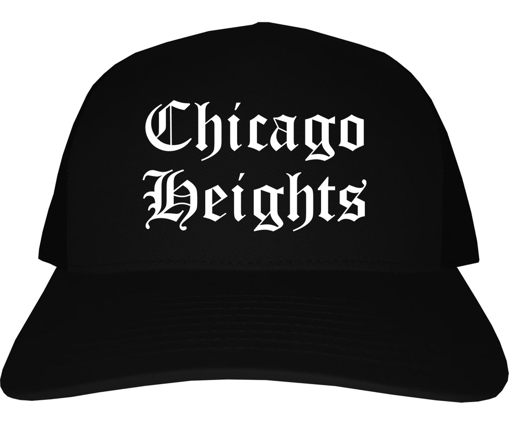 Chicago Heights Illinois IL Old English Mens Trucker Hat Cap Black