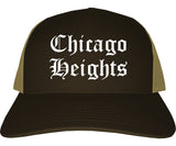 Chicago Heights Illinois IL Old English Mens Trucker Hat Cap Brown