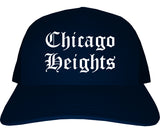Chicago Heights Illinois IL Old English Mens Trucker Hat Cap Navy Blue
