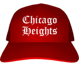 Chicago Heights Illinois IL Old English Mens Trucker Hat Cap Red