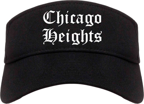 Chicago Heights Illinois IL Old English Mens Visor Cap Hat Black