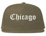 Chicago Illinois IL Old English Mens Snapback Hat Grey