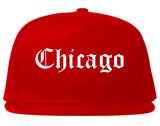 Chicago Illinois IL Old English Mens Snapback Hat Red