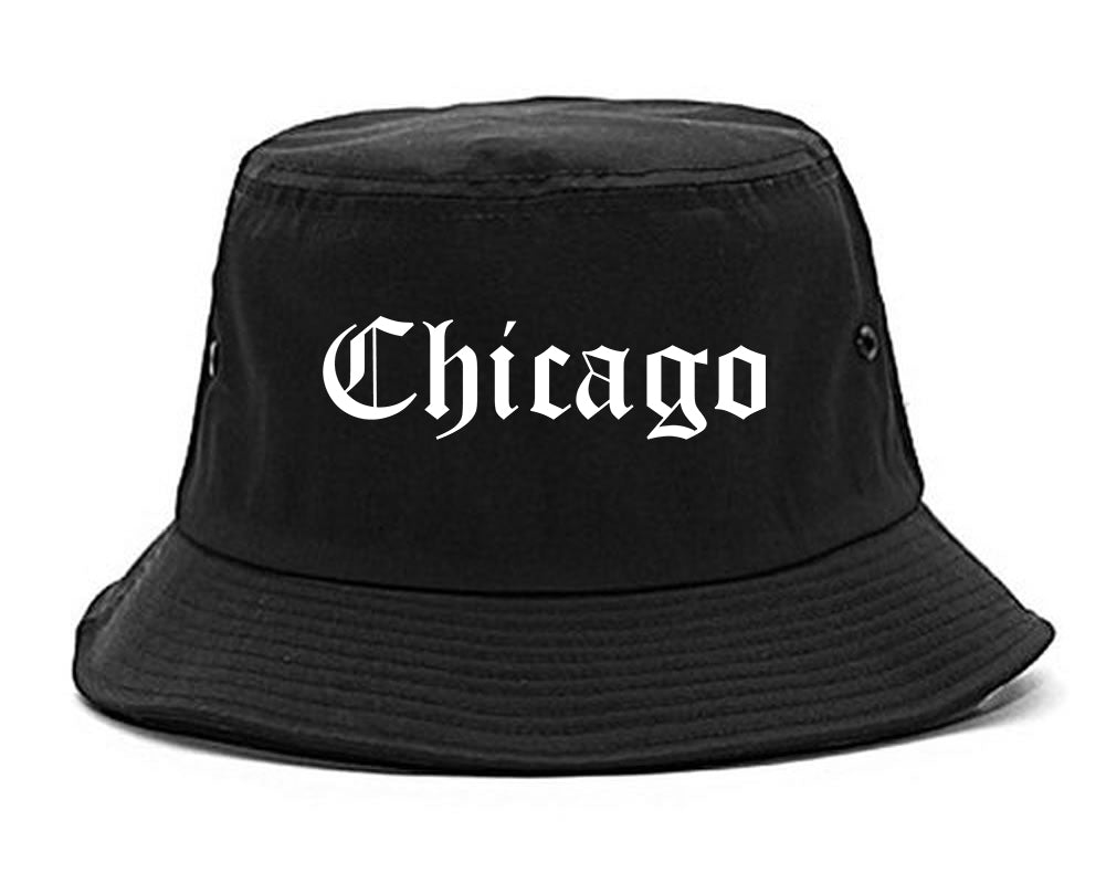 Chicago Illinois IL Old English Mens Bucket Hat Black