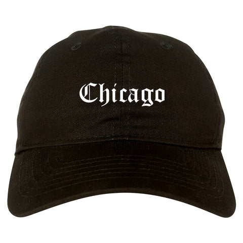 Chicago Illinois IL Old English Mens Dad Hat Baseball Cap Black