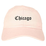 Chicago Illinois IL Old English Mens Dad Hat Baseball Cap Pink